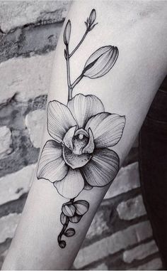 Felipe Kross orchid flower tattoo
