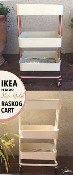 Raskog IKEA Cart Hack is part of Nursery Organization Cart - Transform a plain IKEA Raskog Cart into a chic accent piece Check out the easy steps for spray painting your cart to give it a unique look Raskog Ikea, Spray Paint Storage, Diy Spray Paint, Spray Painting, Spray Paint Rose Gold, Copper Spray Paint, Diy Makeup Organizer, Makeup Storage, Diy Organization
