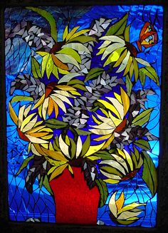 Sunflowers Stained Glass Mosaic