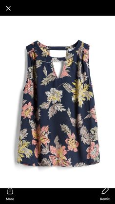 Collective Concepts Blue with Pink & Yellow Floral Top - Stitch Fix Style Quiz Fashion 2020, Look Fashion, Trendy Fashion, Fashion Outfits, Blouse Styles, Blouse Designs, Modest Dresses Casual, Frocks For Girls, Diy Clothes