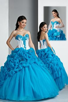 New Arrival Plus Size Quinceanera Dresses Blue Ball Gown Organza