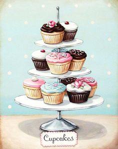 Cupcakes even *I* can't ruin! vintage bakery inspired cupcakes matted print by Everyday is a Holiday Cupcake Illustration, Illustration Art, Cupcake Kunst, Cupcake Torte, Cupcake Fondant, Rose Cupcake, Cupcake Toppers, Cupcake Ideas, Vintage Bakery