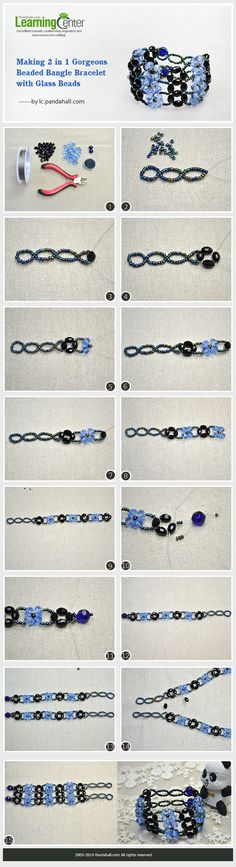 Making 2 in 1 Gorgeous Beaded Bangle Bracelet with Glass Beads