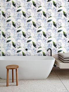 Watercolor gardenia wallpaper Floral Removable by BohoWalls