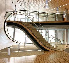 Escalator style stairs.