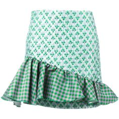 Brognano Asymmetric Frill Skirt (19,885 PHP) ❤ liked on Polyvore featuring skirts, asymmetrical ruffle skirt and green skirt