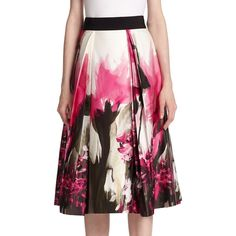 MILLY Floral Print Midi Skirt ($210) ❤ liked on Polyvore