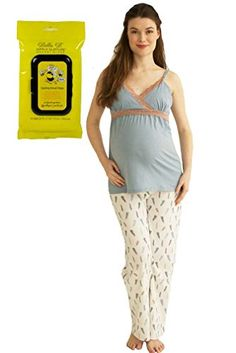 Bundle 2 Items Belabumbum Plume Maternity Nursing PJ Pant Cami XL  Breastwipes
