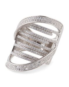 Rhodium Plated Sterling Silver Crossover Ring