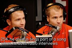 Brian Littrell - He always sings part of a song when he does radio interviews.