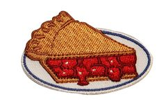 Cherry Pie Embroidered Iron On Badge Applique Patch FD