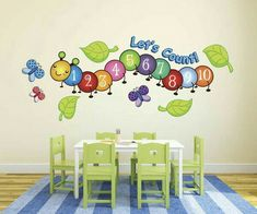 Cute Centipede Number Count Butterflies Wall Decals from our Children's Wall Stickers Collection. Ideal for nurseries, playrooms, and more. Peel and Stick! Preschool Rooms, Daycare Rooms, Preschool Classroom Decor, Toddler Classroom, Classroom Walls, Classroom Design, Childcare Rooms, Decoration Creche, Butterfly Wall Decals