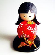 Wooden Japanese Kokeshi Washi Doll. $5.00, via Etsy.