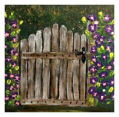 Acrylic Painting Old Cottage Garden Gate, Floral  Fine Art, Home Decor, Wall Painting, Impressionist Art,   UK Etsy, United Kingdom, Sales Old Cottage, Garden Cottage, Impressionist Art, Garden Gates, Digital Prints, Art Uk, Fine Art, Wood, Floral
