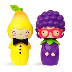 Percy and Violet. Global Limited Edition Only 500 hand-numbered pieces. Violet is a little short sighted. But she knows a thing or two about Jiu Jitsu.  Percy is a pear with sartorial flair.