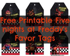 Free printable Five nights at Freddy's favor tags
