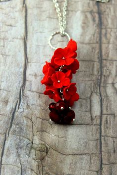 Necklace cascade of red flowers  di TaleJewels on  #Etsy #Earrings #red #polymer #clay #handmade #fimo #flowers #boho #chic #bohemian #romantic #wedding #bridal #bride #jewels #jewelry #jewel #diy #redmood #mood #gift #for #her #I #love #shopping #Etsy #buyonEtsy #Etsian #Etsyshop #TaleJewels #Tale #Jewellery