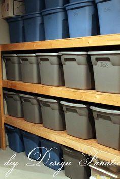 diy Design Fanatic: DIY Storage ~ How To Store Your Stuff , storage, storage shelves, basement storage, garage storage Diy Storage Shelves, Shelving Ideas, Easy Storage, Bin Storage, Attic Storage, Storage Containers, Shelving Units, Storage Ideas For Garage, Smart Storage