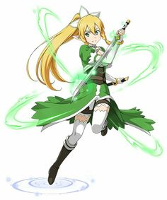 Leafa with her unshethed Rapier Leafa Sao, Kirito Asuna, Sword Art Online Asuna, Arte Online, Online Art, Vocaloid, Gurren, Accel World, Fanart