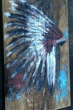 Items similar to GIFT IDEAs – Reclaimed wood wall decor / art / sign – headdress – native american – hand painted on Etsy - Femalez Sites Southwest Decor, Southwestern Decorating, Metallic Paint Walls, Native American Decor, Reclaimed Wood Art, Wood Wall Decor, Diy Wall, Paint Set, Native Art
