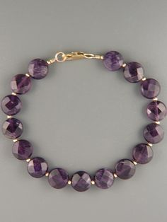Amethyst Bracelet - faceted discs with round beads gemstonebracelets Amethyst Bracelet, Gemstone Bracelets, Pearl Bracelet, Handmade Bracelets, Gemstone Jewelry, Beaded Jewelry, Handmade Jewelry, Leather Jewelry, Diy Jewelry Necklace