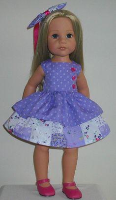 "Purple ditsy dress & bow hair slide fits 18-20"" Dolls Designafriend/Gotz hannah"