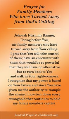 Prayer: Family Members who have turned away from God