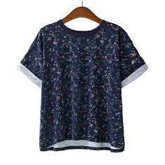 SheIn(sheinside) Navy Short Sleeve Floral Loose T-Shirt (19 CAD) ❤ liked on Polyvore featuring tops, t-shirts, sheinside, shirts, navy, short sleeve tee, navy blue t shirt, short sleeve cotton shirts, blue t shirt and loose t shirt