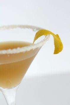 One of my favorites, the Sidecar cocktail:  -1 ounce Cognac  -3/4 ounce Cointreau  -3/4 ounces lemon juice  -1/4 cup sugar for decoration