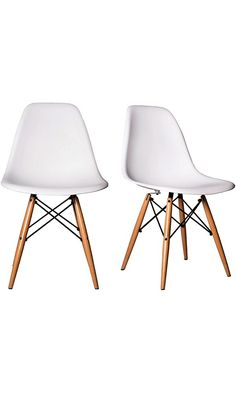 Chelsea DSW Molded Plastic Dining Side Chairs (Set of 2) (White, DSW Side Chair) Best Price