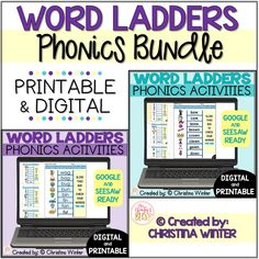 Word Ladders - Printable and Digital Phonics Activities - for distance learning - Mrs. Winter's Bliss Word Study Activities, Phonics Activities, Word Ladders, Writing Mini Lessons, Cvce Words, First Grade Phonics, Digital Word, Words Containing, Spelling Patterns