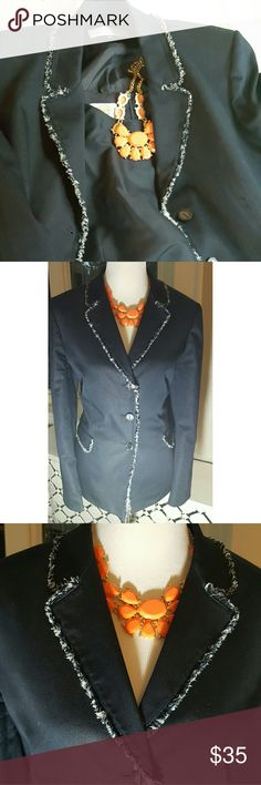 TAHARI ARTHUR S LEVINE NAVY SUIT JACKET Stunning!! This jacket by TAHARI is a wardrobe staple, versatile in that it can be dressed up as a suit or down paired with jeans and heels for a night out...blue and white fringe trim accents the lapels and pockets for added flare. Size 16. Consult manufacturer's size chart for general fit guidelines.  All items from a NON-SMOKING home.  BUNDLE AND SAVE!! Tahari Jackets & Coats Blazers