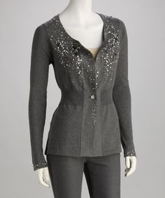 Take a look at this Gray Sequin Cardigan by Olivia M on #zulily today!