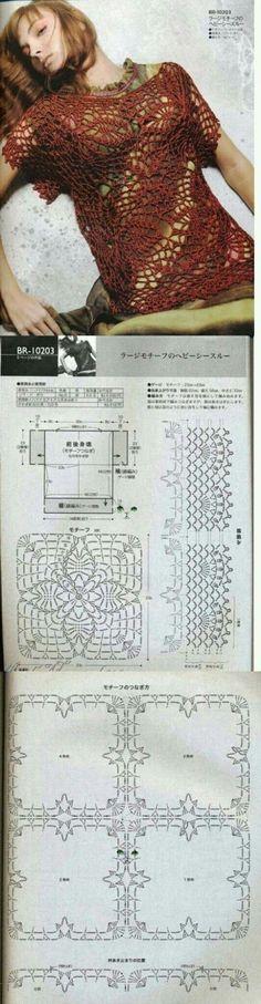 Patrones Crochet, Manualidades y Reciclado: BLUSAS PARA TEJER A CROCHET CON PATRONES GRÁFICOS GRATIS