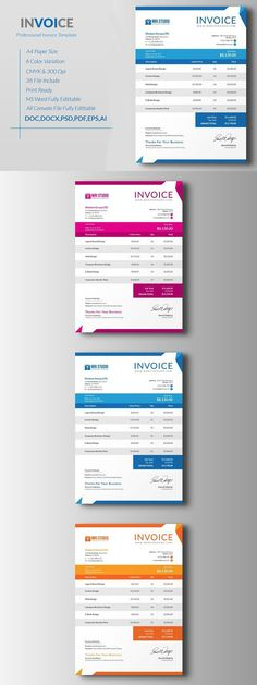Corporate Invoice. Stationery Templates