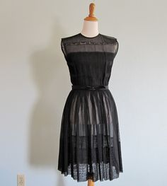 Vintage 1950s Dress - Sheer Black Party Dress with Pintuck Bodice by R & K Originals - 50s Black Cocktail Dress S M. $108.00, via Etsy.