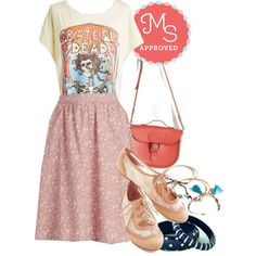 In this outfit: Serenity for Two Skirt, Wear Thee Well Tee, Have Style, Will Travel Bag, Twee and Easy Flat, Trendsetting Trio Bracelet Set, Midnight Train to Gorgeous Bracelet Set