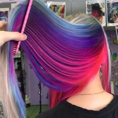 Looking for hair inspiration, color ideas such as mermaid hair, rainbow hair color, pastel hair color ideas you cant help but love how cute Pretty Hair Color, Hair Color Purple, Hair Dye Colors, Purple Hair, Galaxy Hair Color, Peekaboo Hair Colors, Pastel Purple, Underlights Hair, Neon Hair