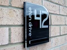 Cayman double acrylic house number sign with the iconic contrasting fixing plate by Plastic Republic. Size 200 x 200mm £41.99 House Plaques, House Number Plaque, House Numbers, House Name Signs, Home Signs, Wall Signs, Home Room Design, Living Room Designs, Sign Installation