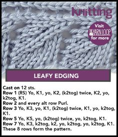 Sunday Stitches leafy edging, lots of good stuff Lace Knitting Stitches, Lace Knitting Patterns, Knitting Charts, Easy Knitting, Loom Knitting, Knitting Needles, Stitch Patterns, Knitting Tutorials, Knitting Projects