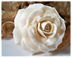 white rose bridal hair flower pin