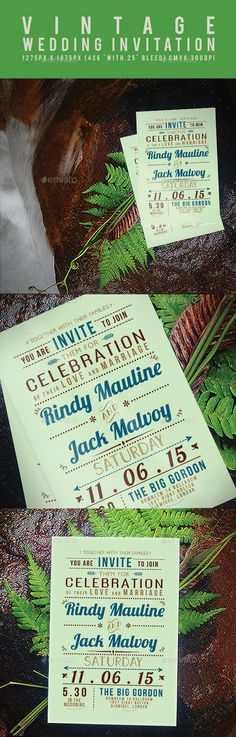 Vintage Wedding Invitation Template #design Download: http://graphicriver.net/item/vintage-wedding-invitation/11903841?ref=ksioks