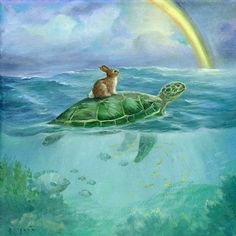 Isabella and the turtle      Here are the details~image Size: 5 3/4 x 5 3/4  Paper Size: 8 x 10  Designed to display hassle free in any