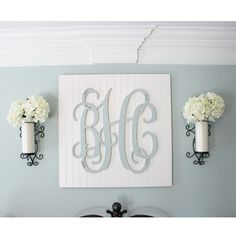 I get lots of questions about the monogram above my bed so I figured I'd share all the details for those who have asked or are curious. The monogram was a wedding gift (and probably my favorite non-registry/monetary gift) so I'm not sure where it's from but I know you can find them on Etsy. I just painted it with the paint leftover from the walls (it's @sherwinwilliams Rainwashed) and glued it onto a piece of beadboard that I had cut to size at @homedepot . I purchased the sconces from…