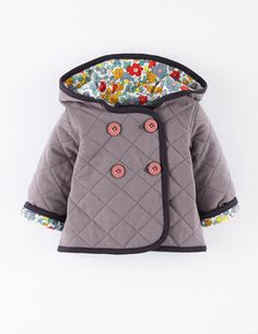 We bought this little coat in yellow last year and it is just the cutest. It feels like a comfy playcoat, but it looks so sharp. Buy up a size and you can get two years out of it - the sleeves roll up to show a sweet floral print inside!