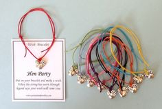 Excited to share the latest addition to my shop: SALE 10 Hen Night Party - HEN Charm Friendship Bracelets with Wish Message Cards - Assorted Colours - Hen Party Bags Hen Do Party Bags, Boho Hen Party, Hen Party Favours, Hen Party Gifts, Party Gift Bags, Hen Night Ideas, Hens Night, Hen Ideas, Stag Ideas