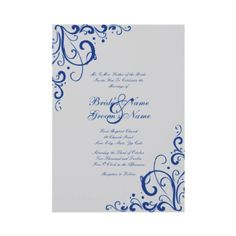 Royal Blue and Gray Flourish Wedding Invitation  This beautiful chic wedding invitation features a silver grey background with royal blue corner flourishes that give it a pretty and sophisticated look. Perfect for a classy and elegant look for any winter wedding!