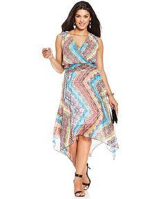 Spense Plus Size Printed Handkerchief-Hem Dress - Dresses - Plus Sizes - Macy's
