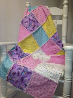 Super soft flannel rag baby quilt for a precious little girl on Etsy, $25.00