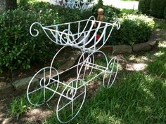 Vintage Wrought Iron Chippy White Planter Flower Cart from Mrs Wiggs Heirloom Pillows & Unique Vintage Decor $165